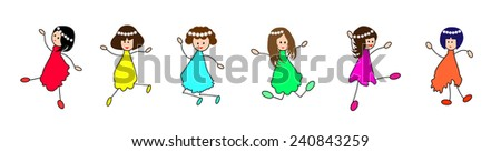 Happy kids-Group of Children Jumping-vector illustration  - stock vector
