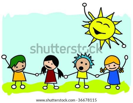 Happy kids illustration, vector art - stock vector