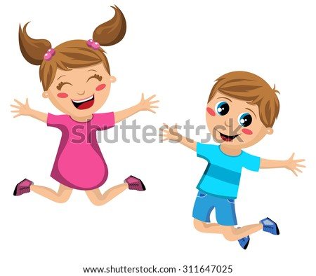 Happy kids jumping isolated - stock vector
