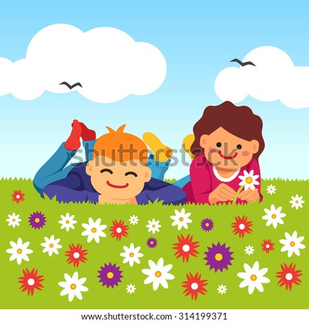 Happy kids laying on the meadow grass full of field flowers. Youth innocent platonic love. Young couple. Vector flat style isolated cartoon illustration. - stock vector