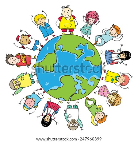 happy kids lined up on planet - stock vector