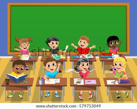 group happy children school classroom teacher stock