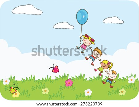 Happy kids playing balloon at park - stock vector