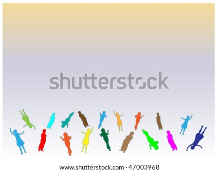 happy kids playing, happy acrobat children - stock vector