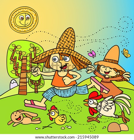 happy kids playing in the farm. little boy and little girl playing with farm animals. - stock vector