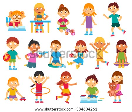 Happy kids playing reading and running flat silhouettes set isolated vector illustration - stock vector