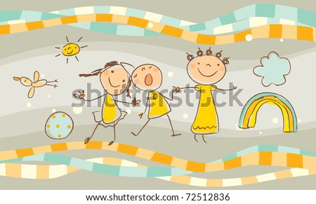 happy kids playing together vector drawing illustration - stock vector