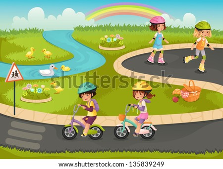 Happy kids riding bikes and roller skates in the park. - stock vector