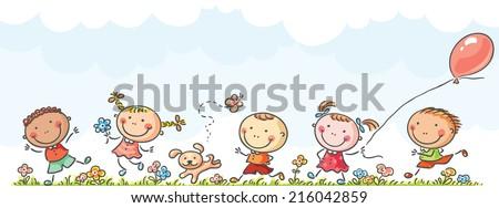 Happy kids running  - stock vector