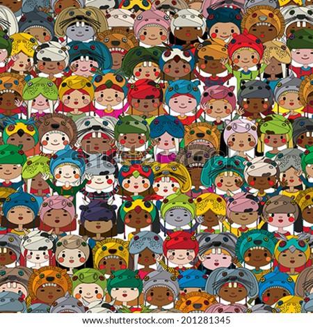 Happy kids seamless pattern - stock vector