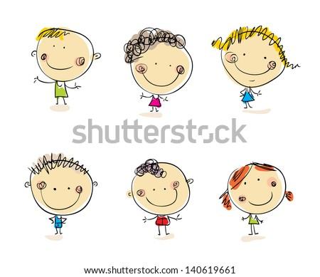 Happy kids set Vector people. Doodle people. Cartoon people - stock vector