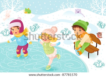 Happy kids skating on the ice. - stock vector