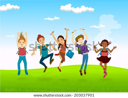 Happy Kids  - Vector Illustration - stock vector