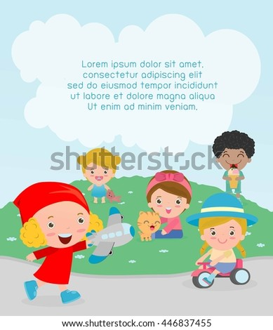 happy kids with toys at playground, Template for advertising brochure,your text, kids time, Children playing in the playground, child with toys at playground,  - stock vector
