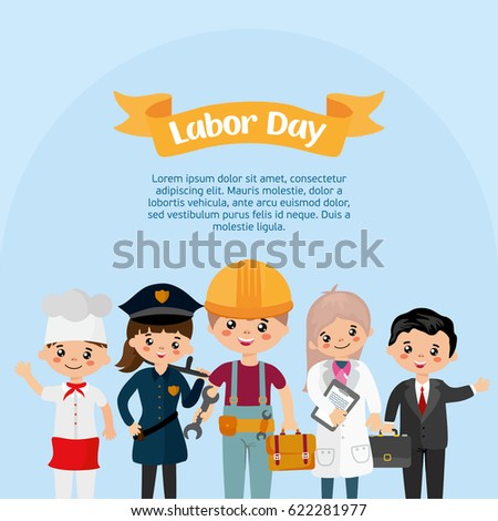 Happy labor day greeting card people stock vector royalty free happy labor day greeting card people of different professions people in uniform police m4hsunfo