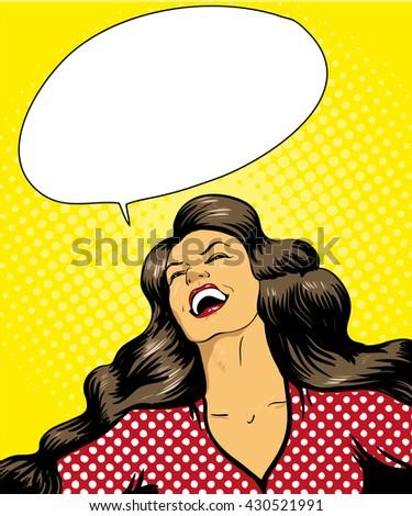 Happy laughing woman vector pop art retro comic style illustration, speech bubble - stock vector