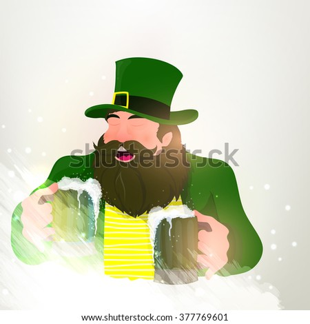 Happy Leprechaun holding beer in both hands and enjoying on occasion of St. Patrick's Day celebration. - stock vector