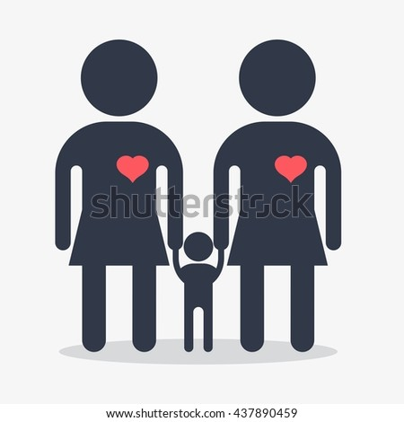 Happy lesbians family icon. Gay woman icon. Gay couple. Conceptual image of gay love and gay family. Objects isolated on a white background. Flat vector illustration. - stock vector