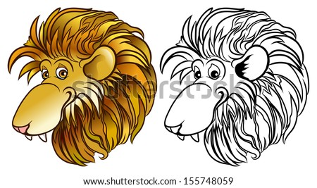Happy lion cartoon head in colors and black and white - vector - stock vector