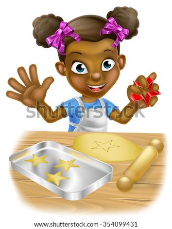 Happy little black girl child playing at being a baker baking cookies - stock vector
