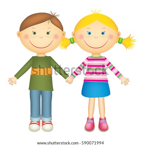 happy little boy girl holding hands stock vector 2018 590071994 rh shutterstock com Silhouette of Boy and Girl Holding Hands Holding Hands Clip Art