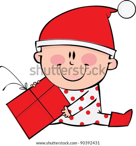 Happy little boy at Christmas time - stock vector