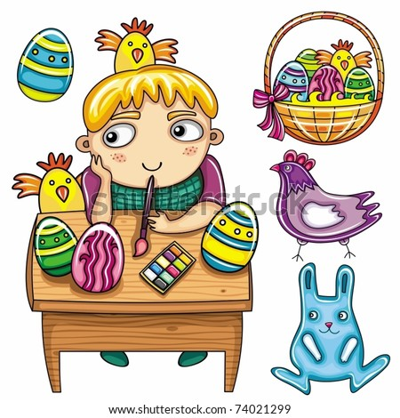 Happy little boy painting the easter eggs. Easter kids series 1 - stock vector