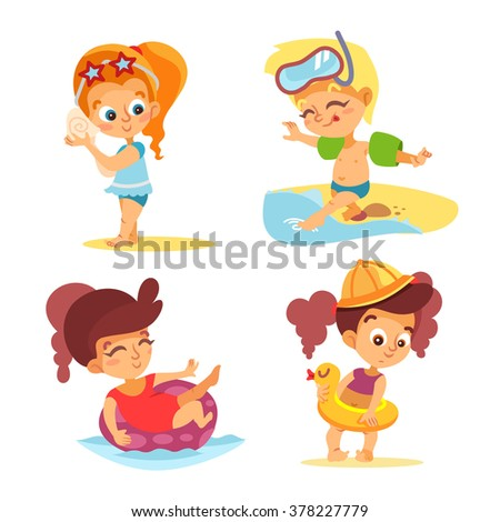 Happy little boys and girls on beach.Vector illustrations set isolated on white background - stock vector