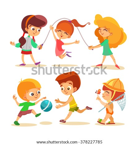 Happy little boys and girls playing with ball and jumping.Vector illustrations set isolated on white background - stock vector