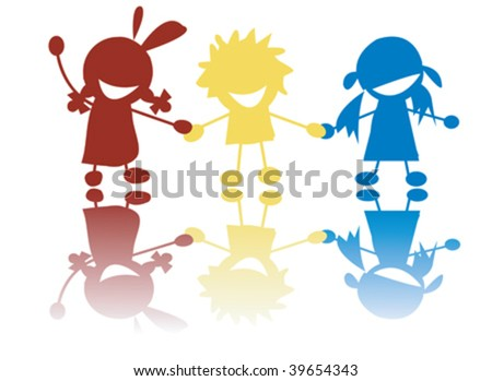 Happy little children holding hands in colors, stylized silhouettes - stock vector