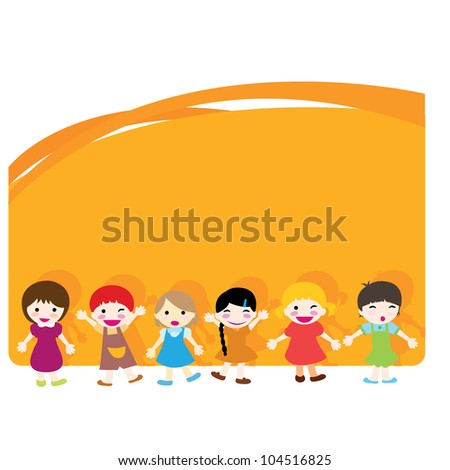 happy little children with orange background design