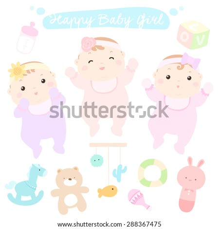 Happy little cute baby girls vector illustration