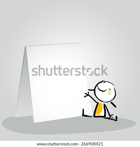 Happy little girl, kid with a blank placard, smiling. Vector doodle style sketchy illustration.  - stock vector
