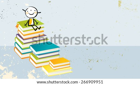 Happy little girl, on pile of books. Learning, education, back to school doodle style vector illustration. - stock vector