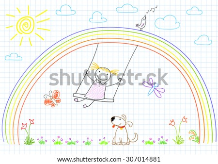 Happy little girl on swing on rainbow. Vector sketch on notebook page - stock vector