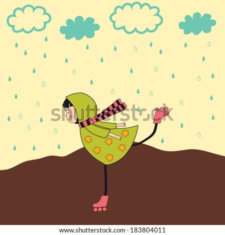 happy little girl riding in the rain - stock vector