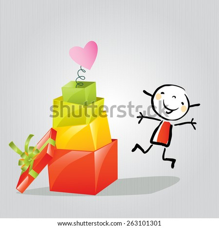 Happy Little girl with gift boxes, presents. Doodle style, sketchy vector illustration concept.  - stock vector