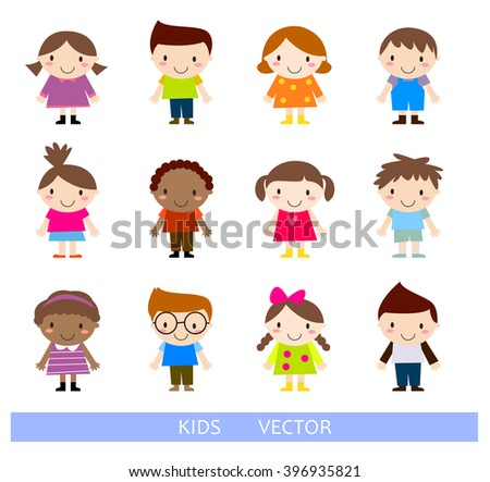 Happy little kids collection set - stock vector