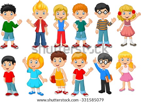 Happy little kids collection set. isolated on white background  - stock vector