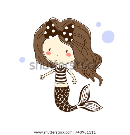 Happy Little Mermaid In A Striped Shirt Is Swimming Ocean Bubbles On Background