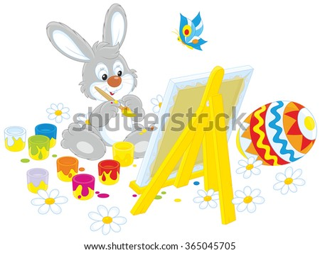 Happy little rabbit drawing a colorfully painted Easter egg on his canvas - stock vector