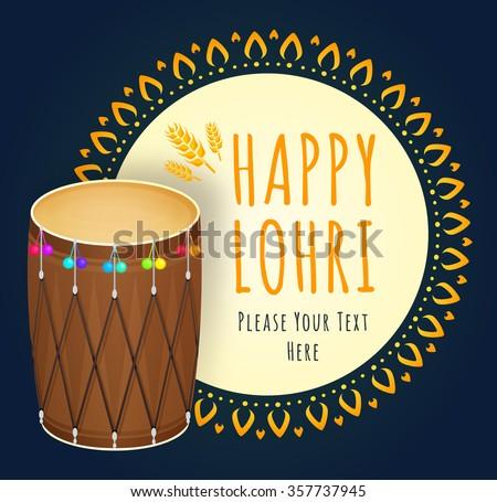 Happy Lohri celebration. Vector illustration of Punjabi Festival. Creative poster. Happy Lohri Festival - stock vector