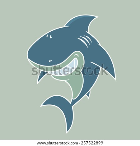 happy looking great white shark.white outlines vector illustration  - stock vector