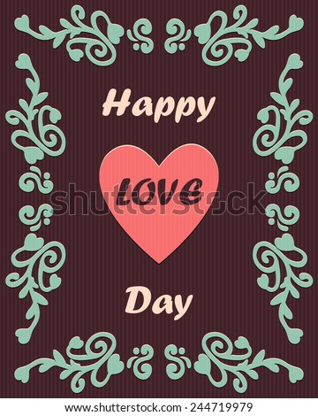 Happy love day card with ornament - stock vector