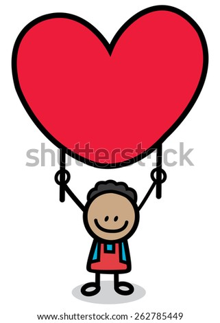 happy lover boy with red heart cartoon illustration  - stock vector