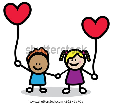 happy lover kids with red heart cartoon illustration  - stock vector