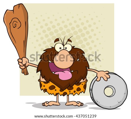 Happy Male Caveman Cartoon Mascot Character Holding A Club And Showing Whell. Vector Illustration Isolated On White Background - stock vector