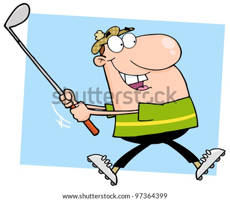 Happy Male Golfer Running. Jpeg version also available in gallery. - stock vector