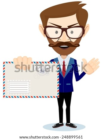 Happy Man Delivering Mail Over White Backgroun - Stock Vector  Illustration - stock vector