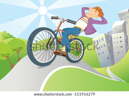 Happy man driving by bike from big city to nature.Vector illustration of landscape